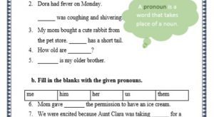 grade 1 pronouns grammar printable worksheet