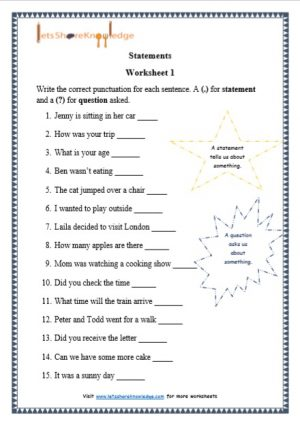 grade 1 statements grammar printable worksheets