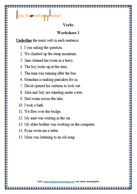 Grade 1 Verbs grammar printable worksheet