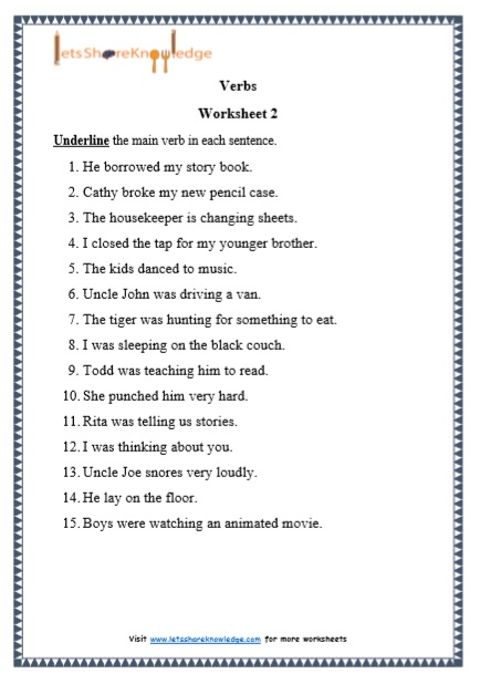 grade 1 verbs grammar printable worksheets