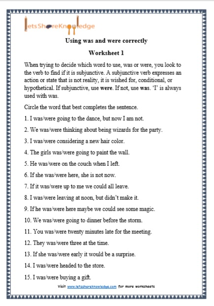 Grade 1 Grammar: Using Was And Were Printable Worksheets – Lets Share  Knowledge