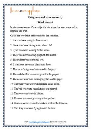 grade 1 was and were grammar printable worksheet