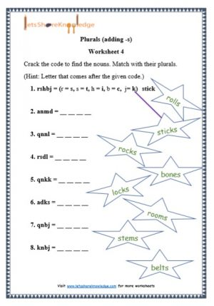 grade 1 plurals adding -s grammar printable worksheet