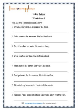 grade 1 using before grammar printable worksheet