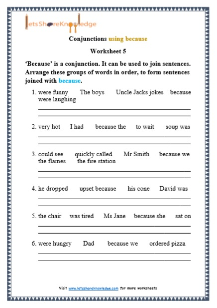 Grade 1 Grammar: Conjunctions Using 'because' Printable Worksheets – Lets  Share Knowledge