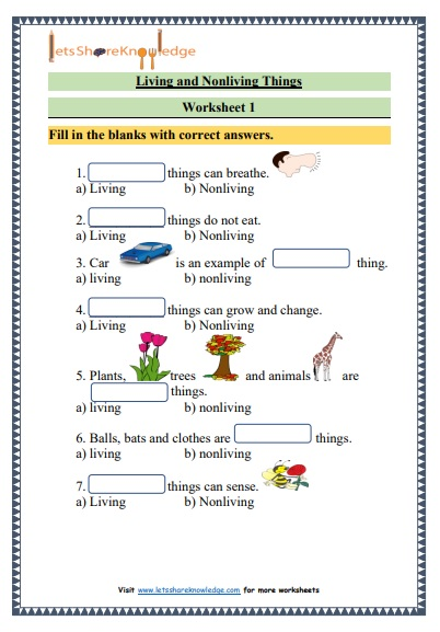 grade 1 living and nonliving things science printable worksheet