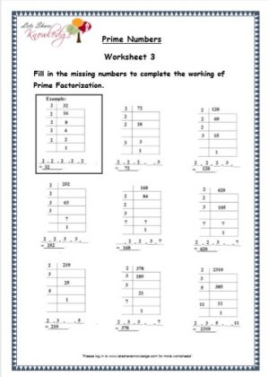 grade 5 prime numbers maths resources printable worksheet