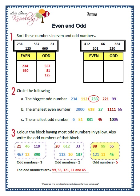 Number Names Worksheets even and odd numbers worksheet : Grade 2: Maths Worksheets Part 1 + 2 (more topics) - Lets Share ...