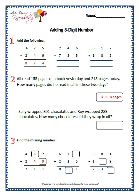 Grade 2: Maths Worksheets Part 1 - Lets Share Knowledge