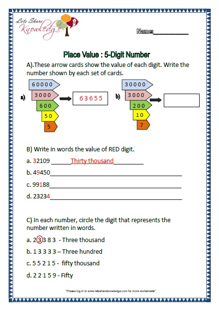 Number Names Worksheets place value worksheet grade 3 : Maths Worksheets Year 3 Place Value