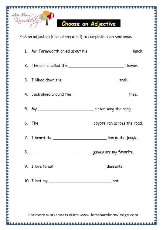 Grade 3 Grammar Topic 5 Parts Of Speech Worksheets Lets Share – Parts of Speech Worksheets