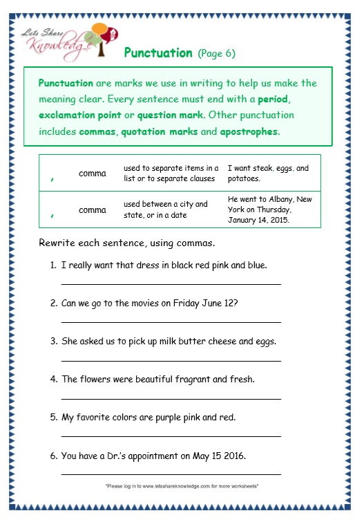 And Punctuation Worksheets - Delibertad