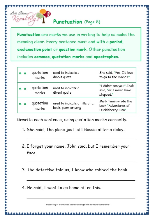 This is a photo of Free Printable Punctuation Worksheets in 3rd grade