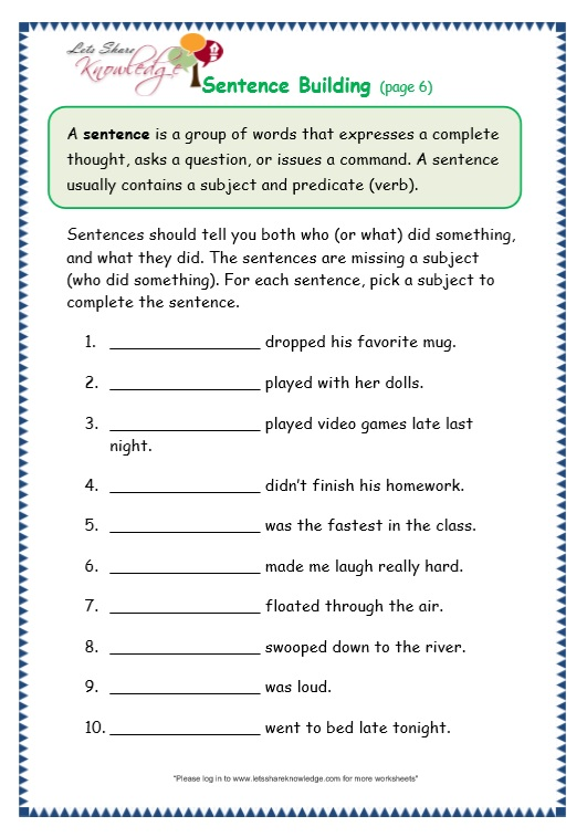 Topic Sentence Worksheets For Grade 3 - The Best and Most ...