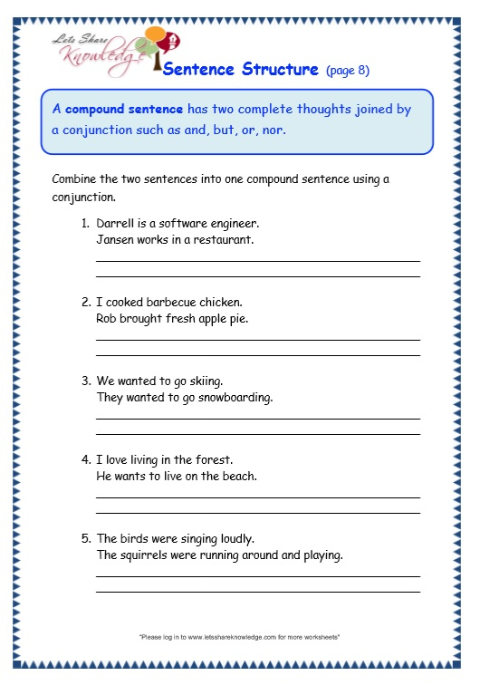 6th Grade 6th Grade Sentence Structure Worksheets Printable – Esl Sentence Structure Worksheets
