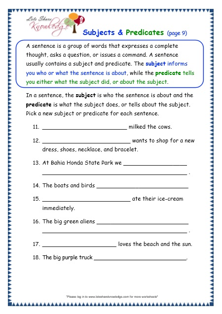 Grade 3 Grammar Topic 38: Subjects and Predicates Worksheets ...