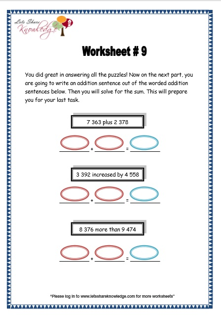 Grade 3 Maths Worksheets: Addition (3.2 Addition of 4 Digit ...
