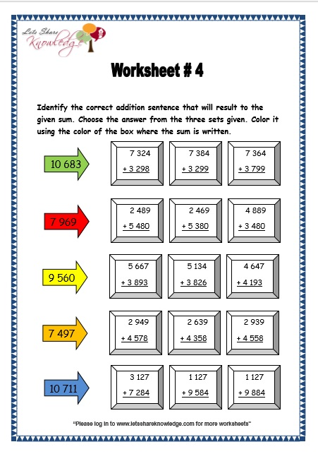 Number Names Worksheets 5 digit subtraction with regrouping worksheets : Grade 3 Maths Worksheets: Addition (3.2 Addition of 4 Digit ...