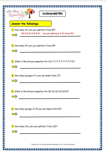 Grade 3 Maths Worksheets: Division (6.1 Division by Repeated ...