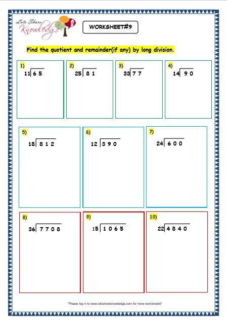 Grade 3 Maths Worksheets: Division (6.5 Long Division by 2 Digit ...