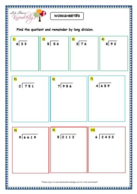 Grade 3 Maths Worksheets: Division (6.4 Long Division With ...