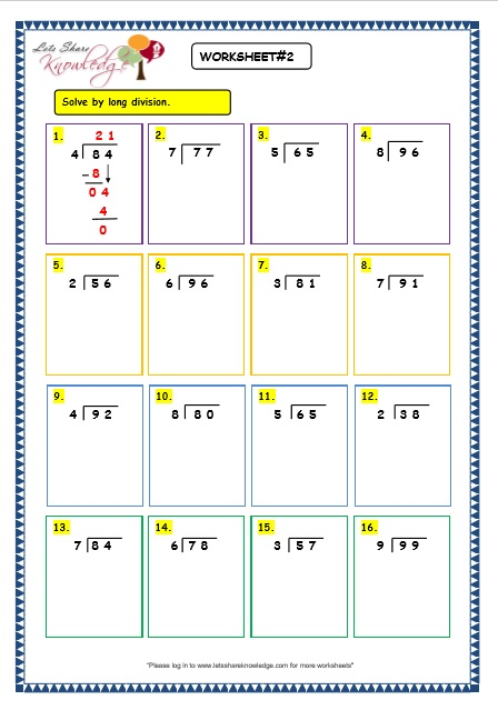 Grade 6 math worksheet - Decimals: long division of decimals by ...