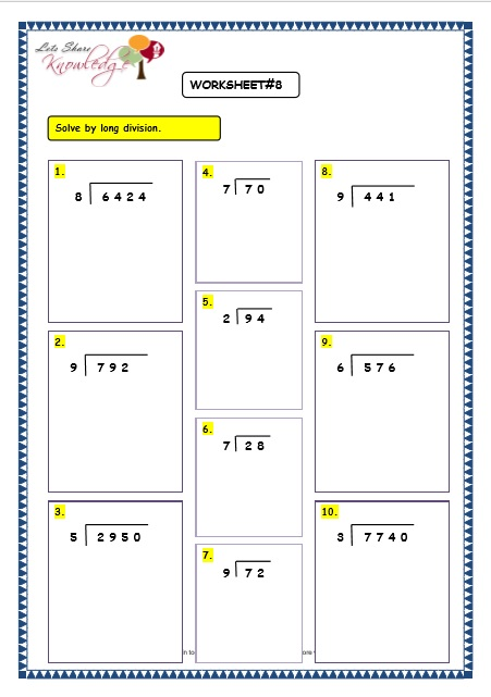 Number Names Worksheets division without remainders worksheets : Grade 3 Maths Worksheets: Division (6.3 Long Division Without ...
