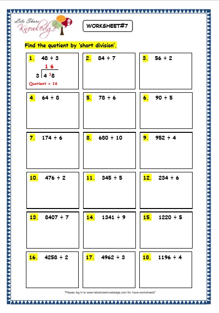 Number Names Worksheets division without remainders worksheets : Grade 3 Maths Worksheets: Division (6.6 Short Division without ...