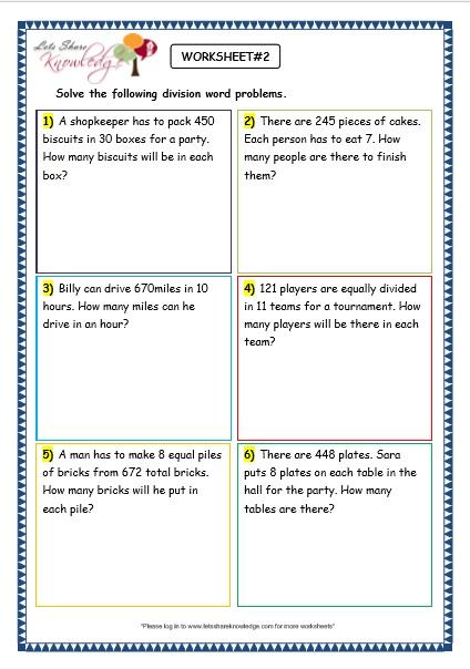 Grade 3 Maths Worksheets: Division (6.9 Division Word ...