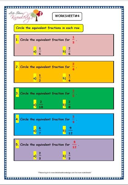 Grade 3 Maths Worksheets: (7.5 Equivalent Fractions ...