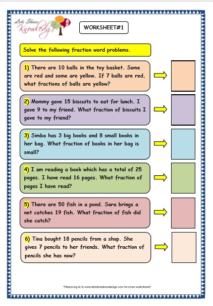 Grade 3 Maths Worksheets: (7.9 Fraction Word Problems ...