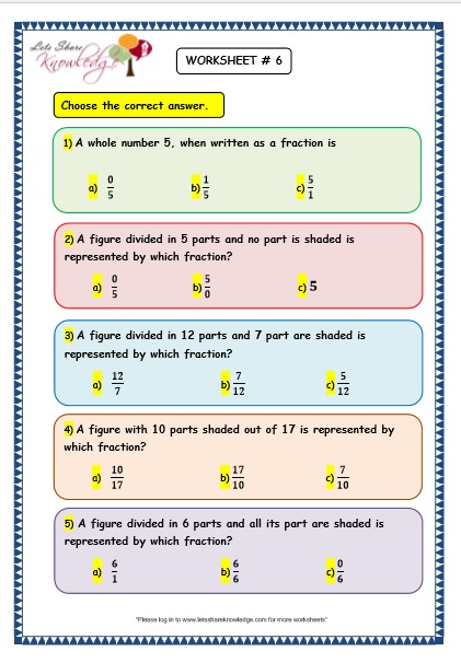 Grade 3 Maths Worksheets: (7.9 Fraction Word Problems ...