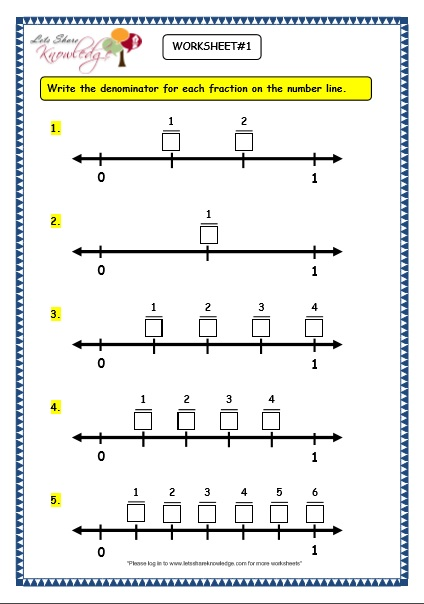 Number Names Worksheets make maths worksheets : Grade 3 Maths Worksheets: (7.2 Making Fractions on the Number Line ...