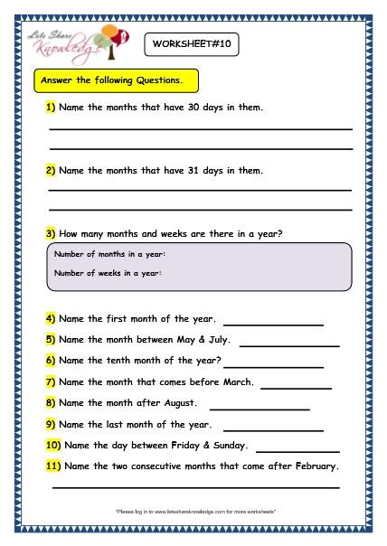 Grade 3 Maths Worksheets: (9.1 Calendars) - Lets Share ...