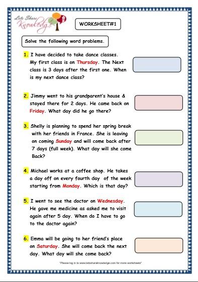 Grade 3 Maths Worksheets: (9.3 Problem Solving with Calendars ...