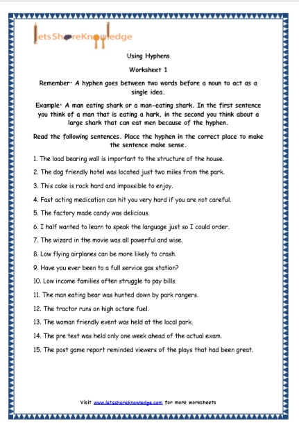Grade 5 English Resources Printable Worksheets Topic: Hyphens – Lets Share  Knowledge