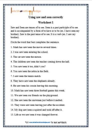 Grade 1 Grammar: Saw and Seen printable worksheets - Lets ...