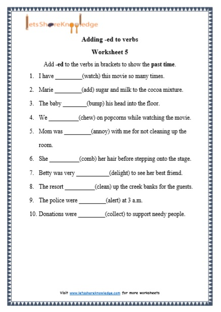 Grade 1 Grammar: Adding -ed To Verbs Printable Worksheets – Lets Share  Knowledge