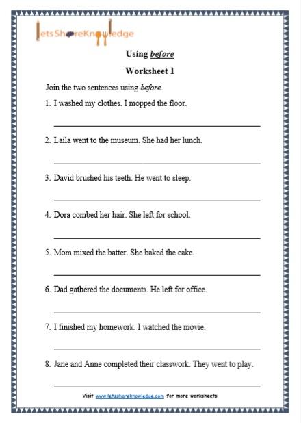 "Grade 1 Grammar: Using ""before"" printable worksheets ..."